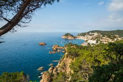 Panoramiczny widok Tossa De Mar Costa Brava Hiszpania zdjęcie royalty free