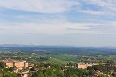 Panoramiczny widok Tuscany od Siena w Włochy fotografia stock