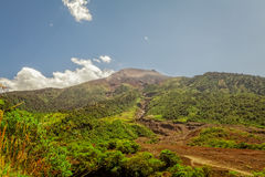 Panoramiczny widok Uśpiony Tungurahua wulkan, Ameryka Południowa Zdjęcia Stock
