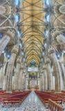 Panoramiczny widok wśrodku gothic katedry Mediolan, Włochy Zdjęcia Royalty Free