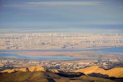 Panoramiczny widok w kierunku rzeki, Pittsburg i Antioch od szczytu Mt Diablo San Joaquin, obrazy royalty free