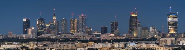 Panoramiczny widok Warszawski miasta śródmieście zdjęcia royalty free
