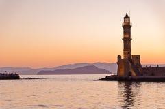 Panoramiczny widok wejście Chania schronienie z latarnią morską przy zmierzchem, Crete Obrazy Stock