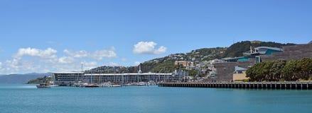 Panoramiczny widok Wellington schronienie, orientał zatoka Qua i Clyde, Obraz Royalty Free