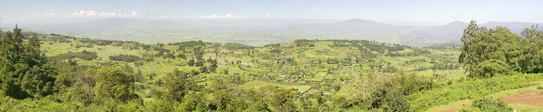Panoramiczny widok Wielki rift valley w wiośnie po opady deszczu dużo, Kenja, Afryka Zdjęcia Royalty Free