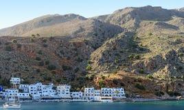 Panoramiczny widok wioska Loutro na soutcoat Crete wyspa Gre Fotografia Stock