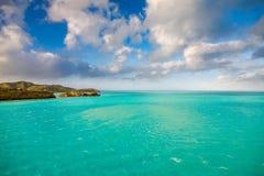Panoramiczny widok woda w St John ` s, Antigua i Barbuda, fotografia royalty free