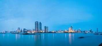 Panoramiczny widok Xiamen linia horyzontu w zmroku Obraz Stock
