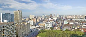 Panoramiczny widok z lotu ptaka Durban, Południowa Afryka linia horyzontu Zdjęcie Royalty Free