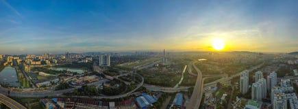 Panoramiczny widok z lotu ptaka Kuala Lumpur, Malezja zdjęcie royalty free