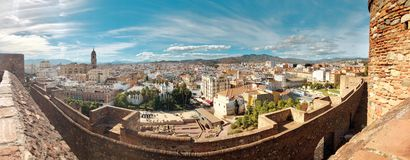 Panoramiczny widok z lotu ptaka miasto Malaga, Hiszpania, Andalusia Piękny pejzaż miejski stary hiszpański miasteczko, sztandar p obrazy royalty free