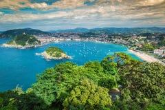 Panoramiczny widok z lotu ptaka San Sebastian Donostia Hiszpania Obrazy Royalty Free