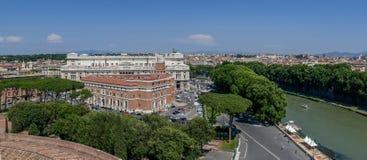 Panoramiczny widok z lotu ptaka stary miasteczko Rzym od San Angelo ca Obraz Royalty Free