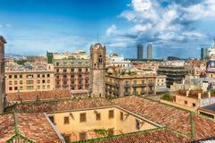 Panoramiczny widok z wierzchu Barcelona katedry, Catalonia, S Zdjęcia Royalty Free