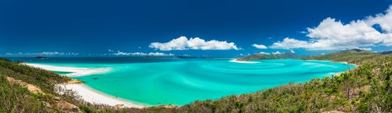 Panoramiczny widok zadziwiająca Whitehaven plaża w Whitsunday Zdjęcia Stock