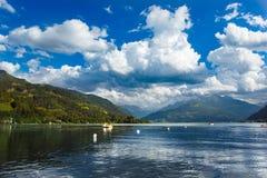 Panoramiczny widok Zeller Widzii jezioro Zell Am Widzii, Austria, Europa Zdjęcia Royalty Free