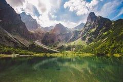 Panoramiczny widok zieleni wody Morskie Oko jezioro, Tatrzańskie góry, Fotografia Royalty Free