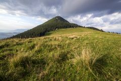 Panoramiczny widok zielona trawiasta dolina, sosny i wiejskie małe chłopskie budy przy stopą odległa odrewniała góra pod zmrokiem zdjęcie stock