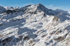 Panoramiczny wiev wysokogórski drogowy Grossglockner w zimie Zdjęcia Royalty Free