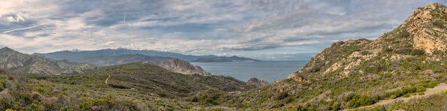 Panoramiczny wybrzeże pustyni des Agriates w Corsica Zdjęcia Royalty Free
