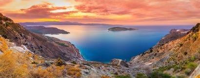 Panoramiczny wysokiego punktu widok malownicza zatoka Mirambello, Crete obraz stock