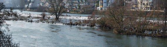 Panoramiczny zalewający teren w MÃ ¼ lheim, Niemcy zdjęcia stock