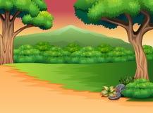 Panoramiczny zielony lasu krajobraz z sylwetki górą ilustracji