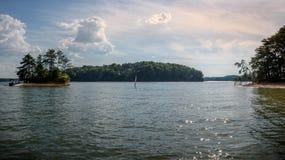 Panoramiczny zmierzch przy Jeziornym Lanier obraz royalty free