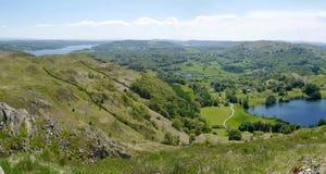Panoramique au-dessus de la région de Loughrigg, secteur de lac, Angleterre Photo libre de droits