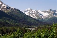Panoramique des montagnes couvertes belle par neige en Alaska, Etats-Unis photographie stock libre de droits