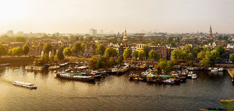 Panoramisch Amsterdam Royalty-vrije Stock Afbeeldingen