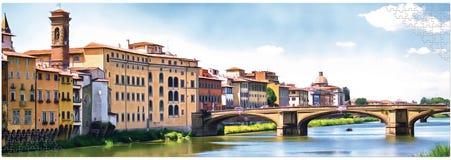 Panoramisch beeld van de kust van Florence in het ontwerp van het raadsel vector illustratie