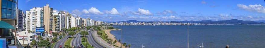 Panoramisch beeld van de promenade in Florianopolis royalty-vrije stock foto