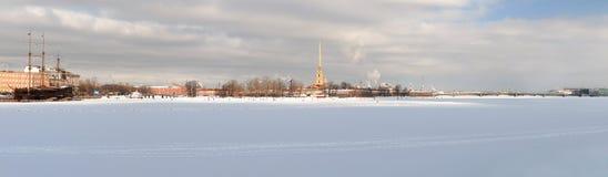 Panoramisch beeld van Peter en Paul Fortress stock foto's