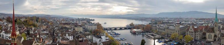 Panoramisch beeld van Zürich en Meer Zürich (Zwitserland) Stock Afbeeldingen