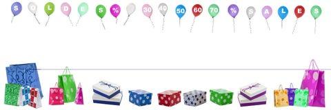 Panoramisch, Bild, mit, Fliegen, Ballone, mit, Verkauf, Buchstaben, und, Zahlen, percentgage weg von an Th, thop und stockfotos