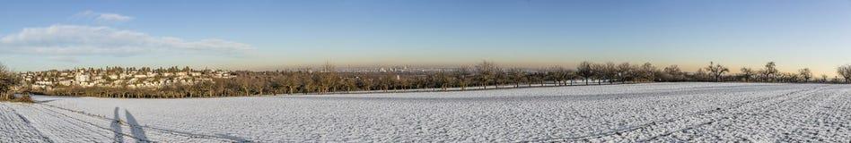 Panoramisch de winterlandschap in Slechte Soden, Duitsland met sneeuwinham Stock Foto