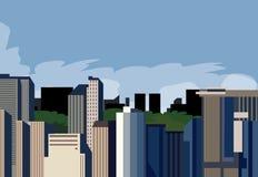 Panoramisch een stad Stock Afbeelding