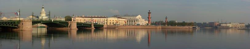 Panoramisch foto'sEiland Vasileevsky en palac Stock Foto