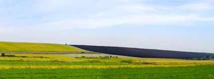 Panoramisch geploegd gebied stock foto