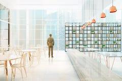 Panoramisch gestemd restaurant binnenlands, zijaanzicht Royalty-vrije Stock Foto