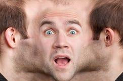 Panoramisch gezicht van de bang gemaakte mens royalty-vrije stock foto