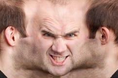 Panoramisch gezicht van de kwaadwillige mens royalty-vrije stock fotografie