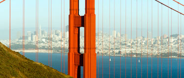 Panoramisch Golden gate bridge San Francisco Marin County Headland royalty-vrije stock foto