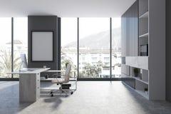 Panoramisch grijs bureau met affiche Stock Foto