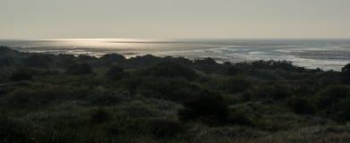 Panoramisch, Het Oerd, het eiland Holland van Ameland wadden Nederland stock foto's