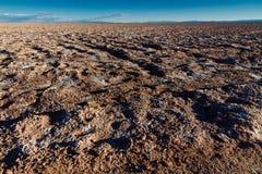 """Panoramisch landschap dichtbij """"Ojos del Salar†die  in de Atacama-Woestijn, Chili, de wildernis immense afmetingen van woest stock afbeelding"""