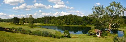 Panoramisch landschap met groen en waterlichaam stock fotografie