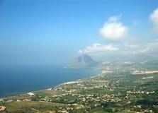 Panoramisch landschap met luchtmening. Sicilië stock foto