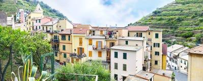 Panoramisch landschap van Manarola-dorpsla Spezia Italië royalty-vrije stock afbeelding